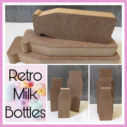 Set of 3 Cute Milk Bottles