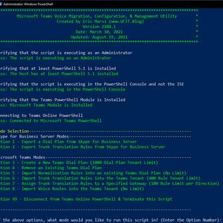 PowerShell Script: Microsoft Teams Voice Migration, Configuration, & Management Utility