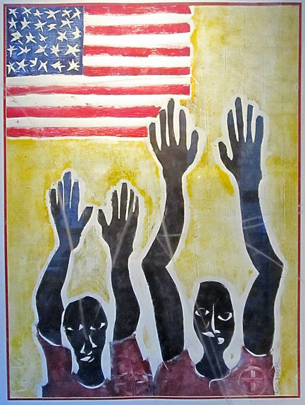 Aziz Diagne__Hands Up__Collagraph__51x41