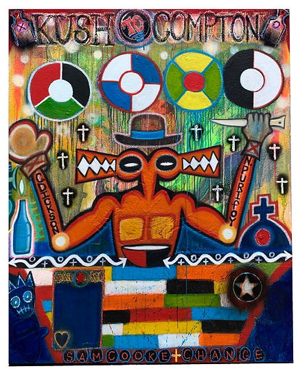 Kush to Compton, acrylic on canvas, 4'x5