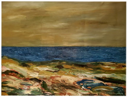 """Benjamin Arizmendi Sea of Thought  Sea Of Thought""""  48 x 52 in  Oil on canvas inches 2021."""