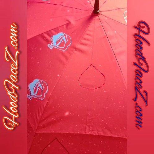 "68"" Light Blue on Red Raindrop Umbrella"