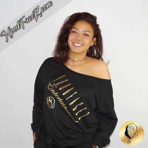 Women Off Shoulder Black Sweatshirt