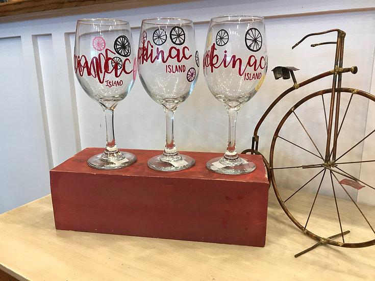 Hand Painted Mackinac Wineglass