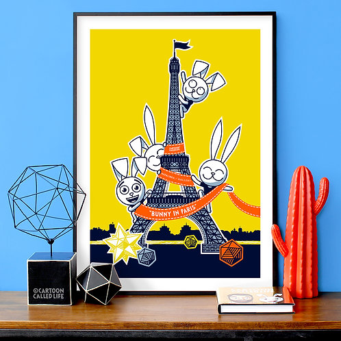 "ARTWORK ""EIFFEL BUNNY"" YELLOW"