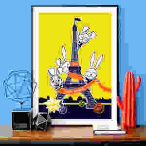"ARTWORK ""EIFFEL BUNNY"" YELLOW"