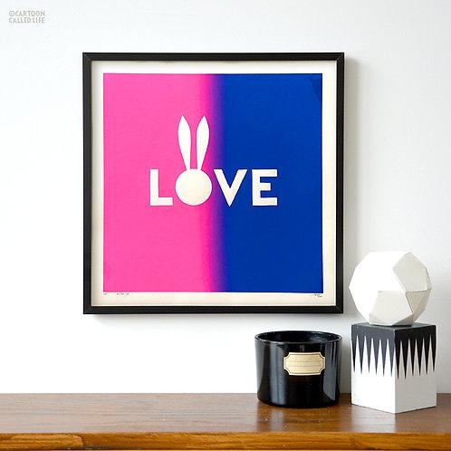 ARTWORK 'LOVE' PINK BLUE