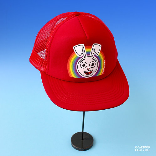CAP 'RAINBOW BUNNY' RED