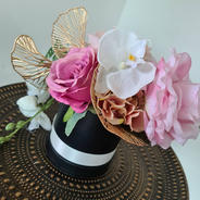 Hatbox arrangement in pink white and gold.