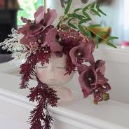 Little face pot.  Mauve orchid, fantasy hanging leaf, fern