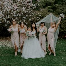 Bride tribe blush wedding flowers