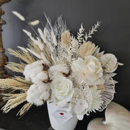 All white mixed faux and preserved arrangement.