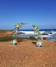 Steel arch, champagne coloured.  White and green floral mix. Proteas, white roses and greenery.