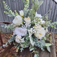 Faux native classic white bridal bouquet.