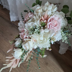Real touch flower artificial teardrop bouquet. Classic style. White an blush.