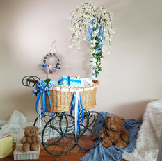 Bassinet with blue and white custom florals