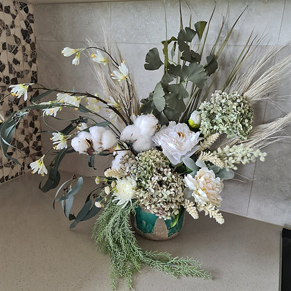 Olive green and white arrangement