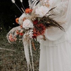 Boho chic mixed faux and dried bridal bouquet. whimsical style.