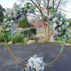 Golden hoop with pink and blush florals