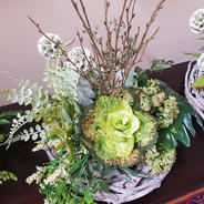 Garden inspired arrangement in twig base. Green cabbage flower, greenery and seeds.