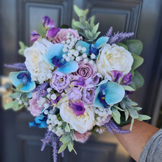 Artificial lillac and turqoise bridal bouquet posy.