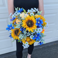 Artificial sunflower bridal bouquet. Large posy.