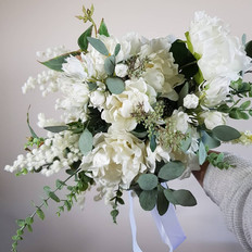 Heritage peony and natives faux flower bridal bouquet.