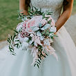 Faux blush pink free-flow bridal bouquet in relaxed design