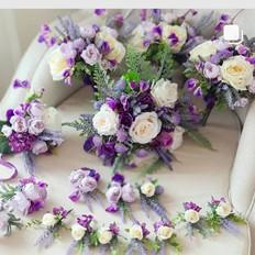 Faux flowers purple lilac bridal set.