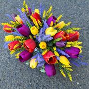 Faux tulip arrangement.