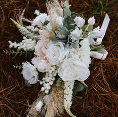 Artificial silk boho chic bridal bouquet. whimsical free flow design.