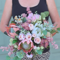 Grand blush pink native bridal bouquet posy.