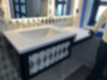 White corian integrated sink