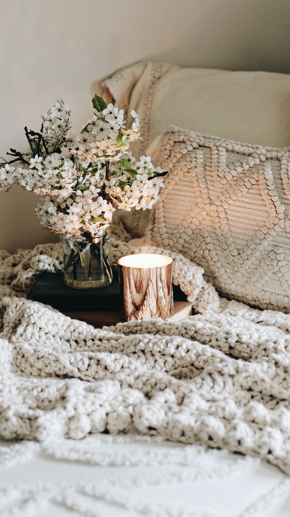 Scrunchy Throw on Bed with Candle