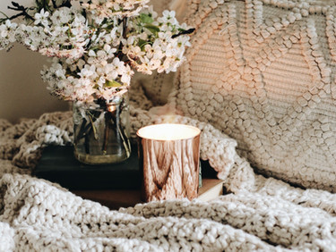 Flowers, Candles, and Scrunchy Throw {Almond}