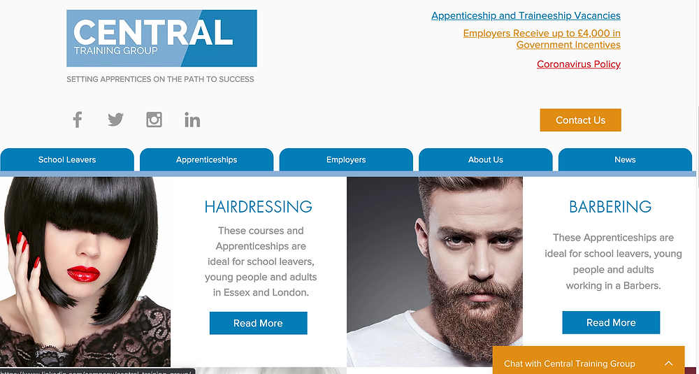 Picture (and link) of Central Training Group's Hairdressing and Barbering webpages