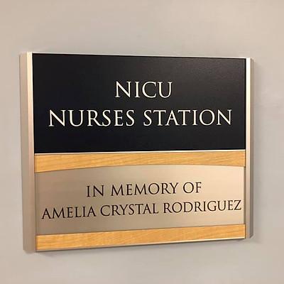 Amelia's NICU Station Memorial Sign