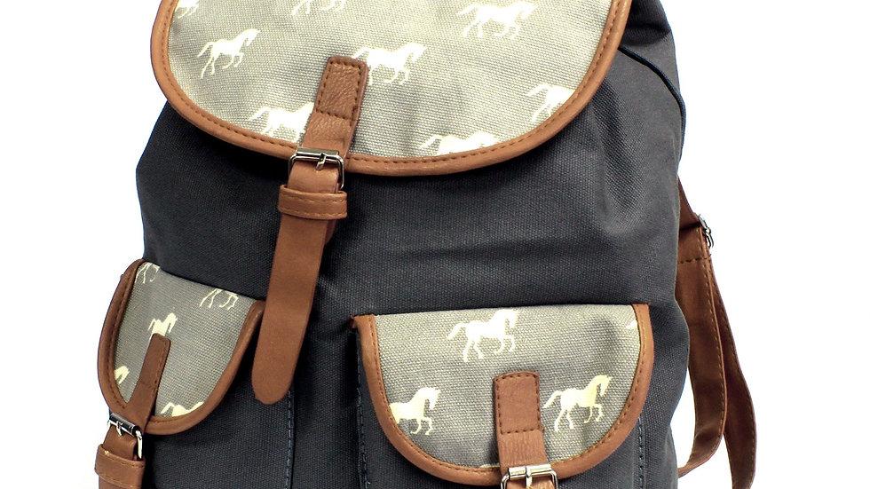 Traveler Backpacks - 2 Pocket with Horse detail