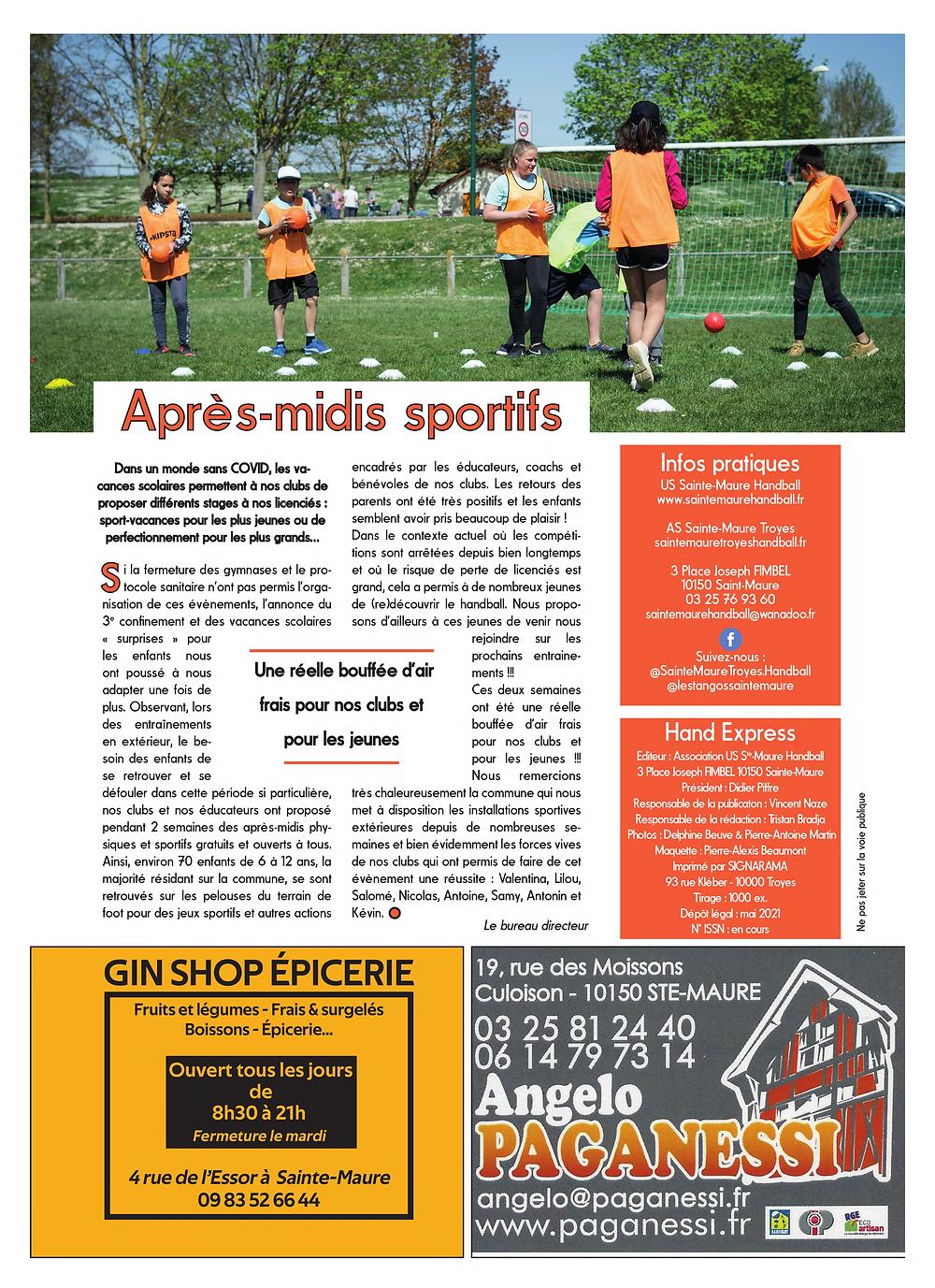 US Sainte-Maure Handball Masculin - Hand Express - Magazine Mai 2021