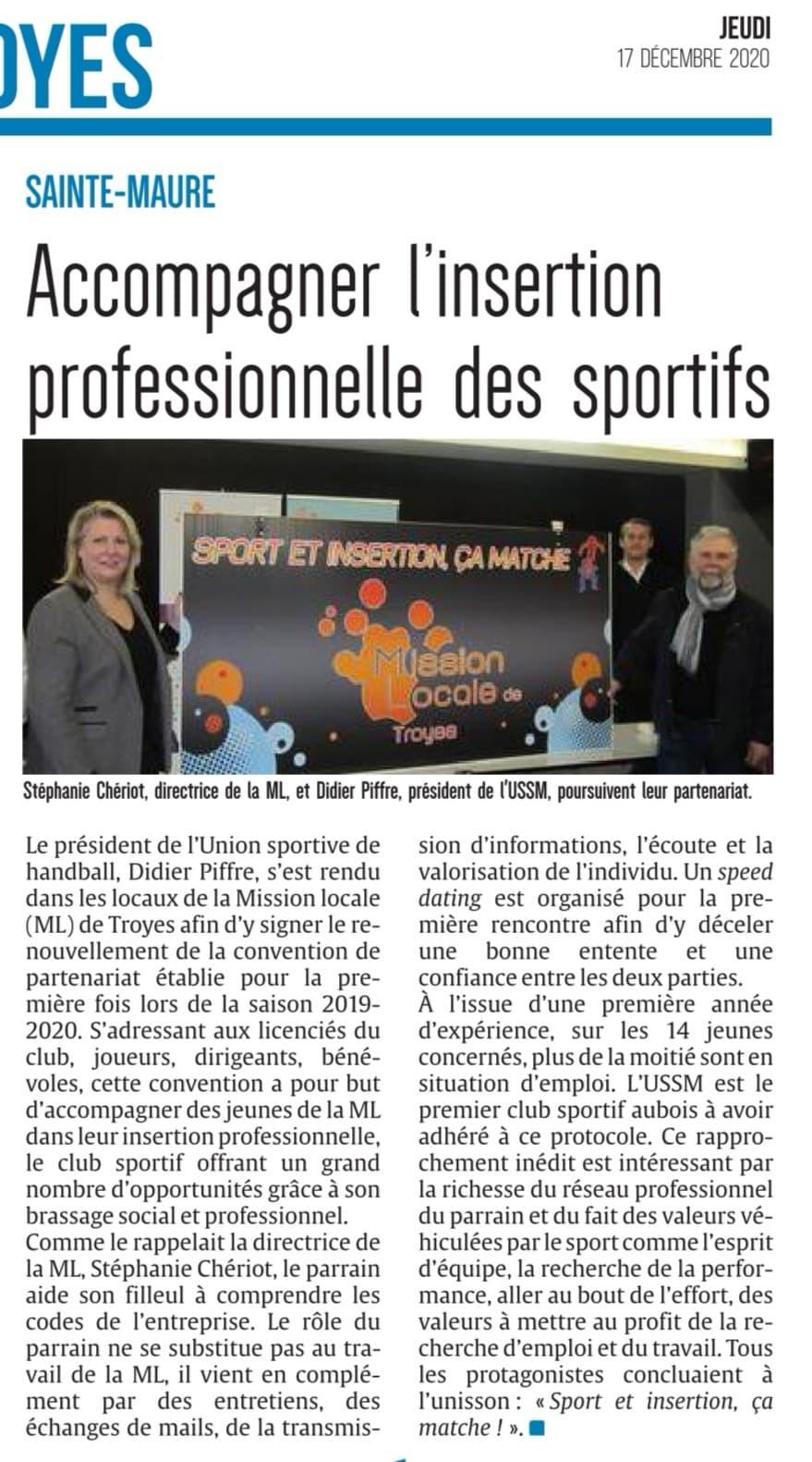 Renouvellement du partenariat US Sainte-Maure Handball Masculin - Mission locale de Troyes