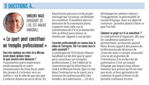 US Sainte-Maure Handball - Partenaires Mission Locale