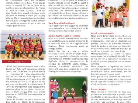 Article sur notre club dans le bulletin municipal de Ste Maure