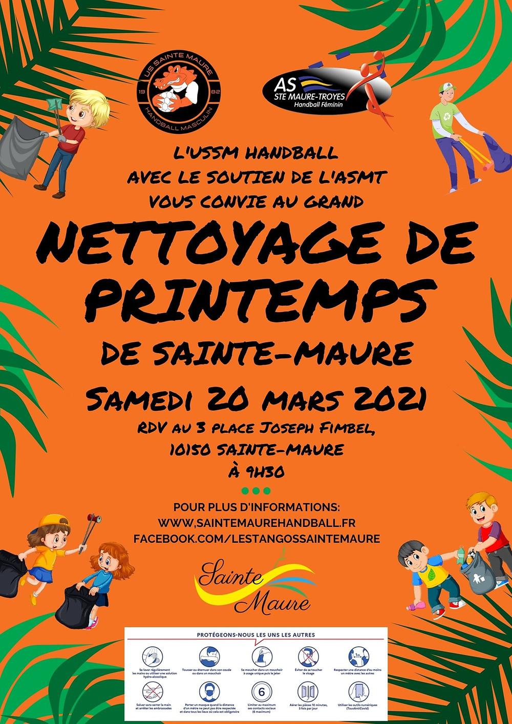 Nettoyage de Printemps 2021 US Sainte-Maure Handball Masculine AS Sainte-Maure Troyes Handball