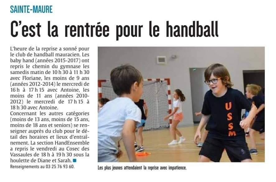 US Sainte-Maure Handball - Rentrée
