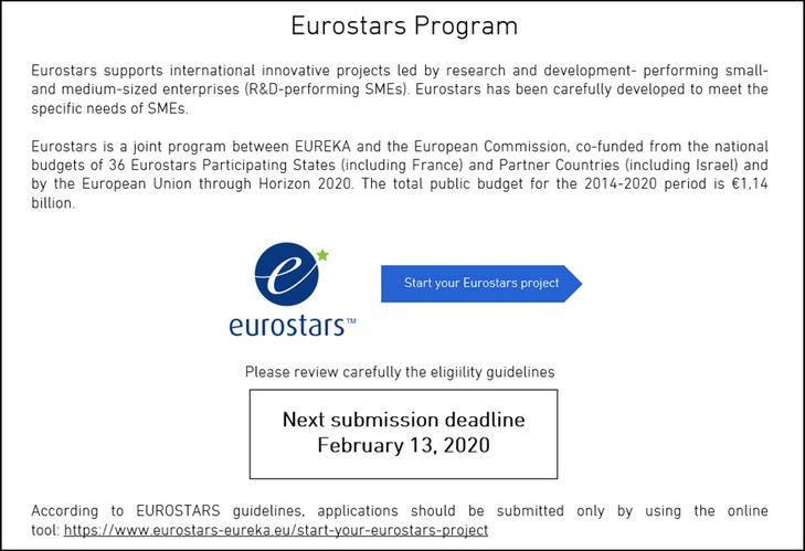 EUROSTARS - Cut-off Feb13, 2020
