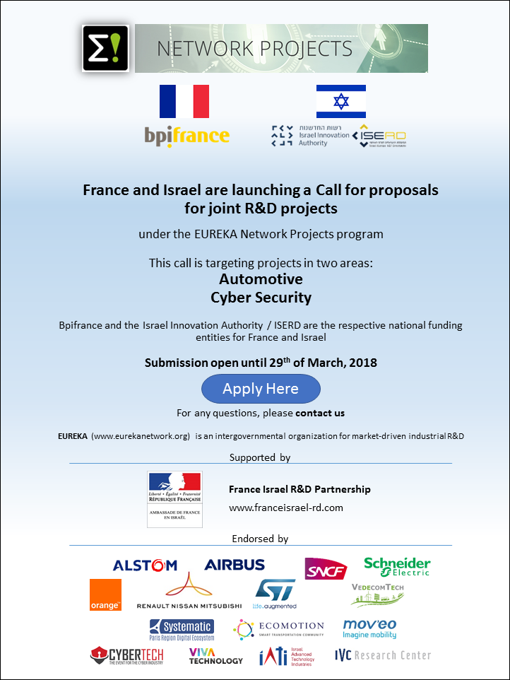 The EUREKA France Israel Call for projects focused on Automotive and Cyber Security is open