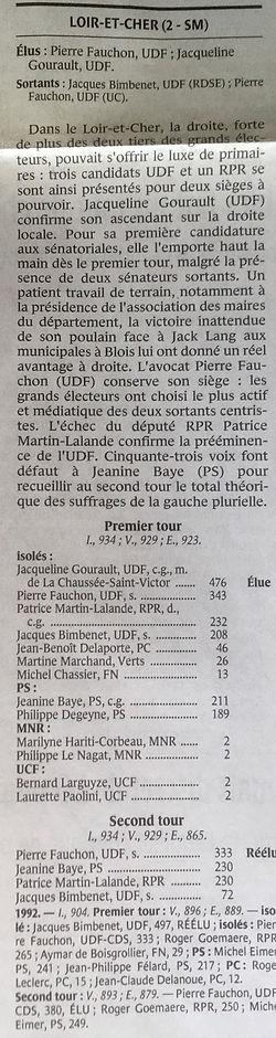 Résultats des élections sénatoriales du 23 septembre 2001 dans Le Monde du 25 septembre 2001