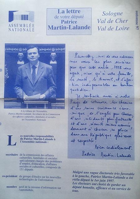 La lettre de votre député automne 1997
