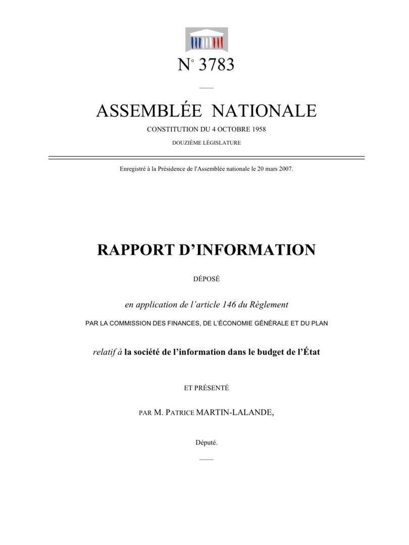 La société de l'information dans le budget de l'Etat