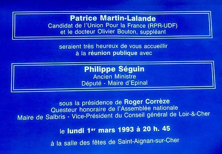 Patrice Martin-Lalande reçoit le soutien de Philippe Séguin pour les législatives 1993